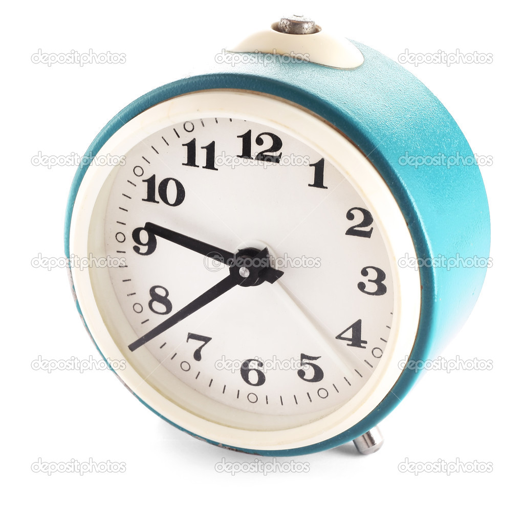 Retro blue clock isolated on white — Stock Photo #8150584