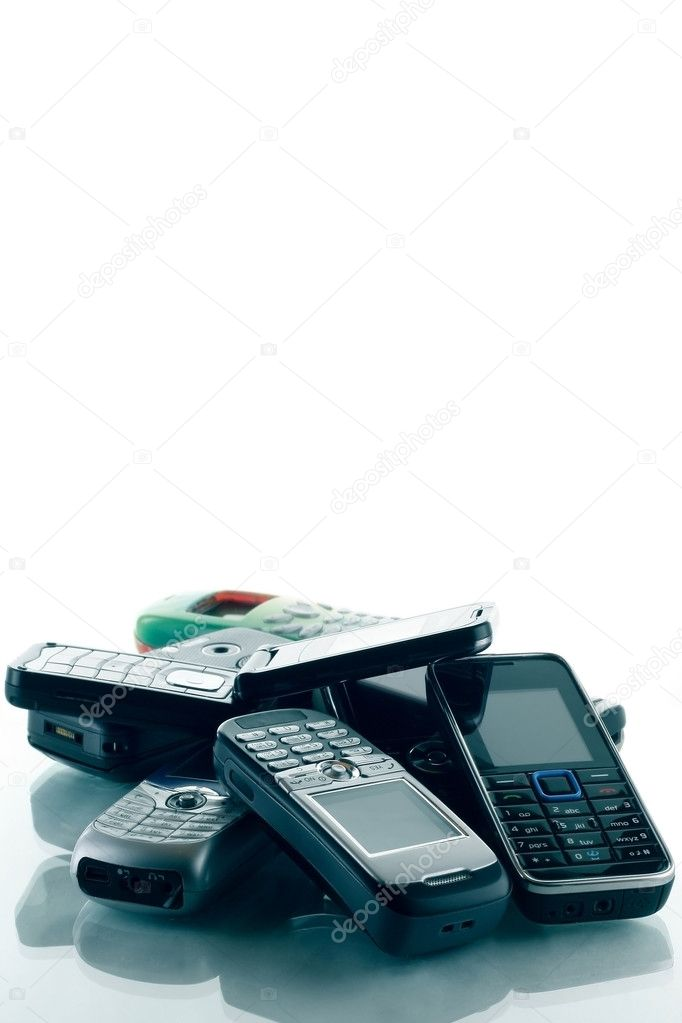 Heap of blue toned phones — Stock Photo #8150899