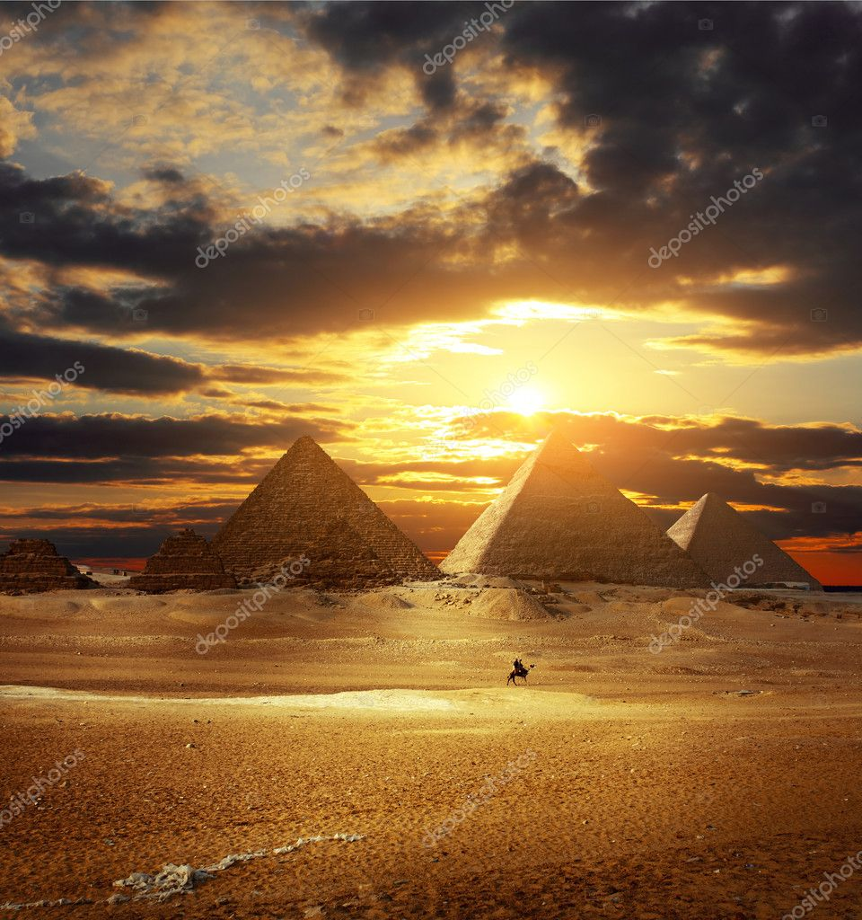 Sunset over Giza pyramids. Egypt — Stock Photo #8155373