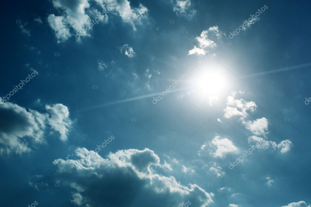 Sun with blue sky and clouds  Stock Photo #8155923