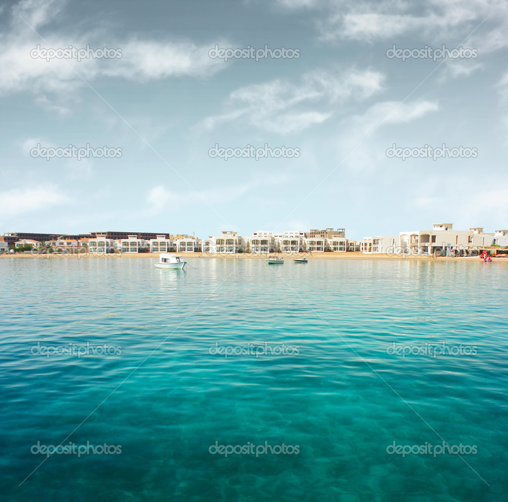 Sea and village on coast — Stock Photo #8156687