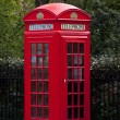 Stock Photo: Traditional red telephone box in London