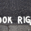 Stock Photo: Look right warning