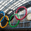 Olympic rings at St Pancras station — Stock Photo #9386469