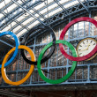 Olympic rings at St Pancras station — Stock Photo