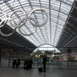 Stock Photo: Olympic rings at St Pancras station
