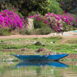 A blue pirogue on the river Niger — Stock Photo
