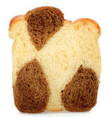 One slice of bread made ​​from rye and wheat flour over whit — Stock Photo