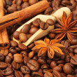Coffee beans, anise and vanilla — Stock Photo