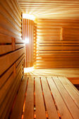 Interior of a hotel sauna, modern wooden design — Stock Photo