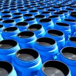The blue plastic barrels for storage of chemicals — Stock Photo