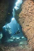 Scuba diver in an underwater cave — Stock Photo