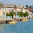 Holiday bungalows on a river — Foto Stock