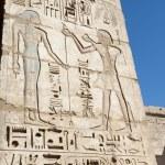 Египетское иероглифическое рисунки на стене храма — Стоковое фото