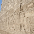 Hieroglyphic carvings on an ancient egyptian temple wall — Stockfoto