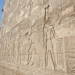 Hieroglyphic carvings on an ancient egyptian temple wall — 图库照片