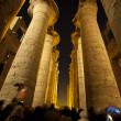 Columns in an ancient egyptian temple at night — Stock Photo