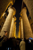 Columns in an ancient egyptian temple at night — Foto Stock
