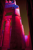 Columns in an ancient egyptian temple at night — Photo