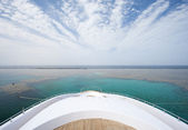 View from the bow of a large yacht — Stock Photo