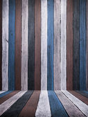 Blue Tone old wood wall and floor — Stock Photo