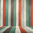 Old color paint wood wall and floor — Stock Photo
