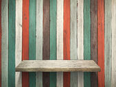 Shelf on Old wood wall and floor — Stock Photo
