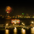 Fireworks at Pattaya bay - Stock Photo