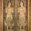 Thai ancient art Gold angel painting on church door — Stock Photo
