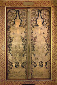 Thai ancient art Gold angel painting on church door — Stock Photo