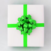 Green star and Cross line ribbon on White paper box — Stock fotografie