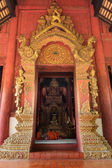 Thai Northern Gold Art of Arched entrance door — Stock fotografie