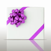 紫色の星とホワイト ペーパー ボックスに斜め線リボン — ストック写真