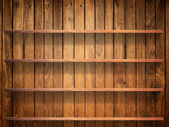 Wood shelf on wood wall — Stock Photo