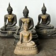 Light Stone Buddhand Three Dark statue — Foto de stock #8360375