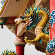 Stockfoto: Right Golden gragon statue on red pillar