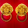 Door handle developing Chinese traditional golden head lion — Stock Photo