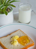 Bread butter jam on white plate — Stock Photo