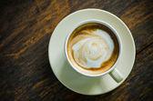 Vista superior de cerâmica xícara de café — Foto Stock