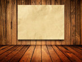 Paper on Old wood wall — Stock Photo