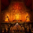 Phra Sihing Buddha Thai gold statues — Stock Photo