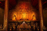 """Phra Sihing Buddha"" Thai gold statues — Stock Photo"