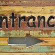 """Entrance"" wood sign — Foto Stock"