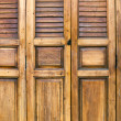 Front of Shield wood door - Foto Stock