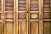 Front of Shield wood door — Stock Photo