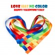 Stock Photo: Heart made of intertwined colored ribbons. Symbol of love and Va