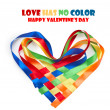 Heart made of intertwined colored ribbons. Symbol of love and Va - Stock Photo