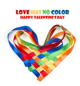 Heart made of intertwined colored ribbons. Symbol of love and Va — Stock Photo