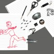 Sketch of office man running away from stationary - Stock Photo