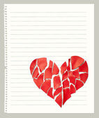 Broken paper heart on notebook page with empty space for text — Stock Photo